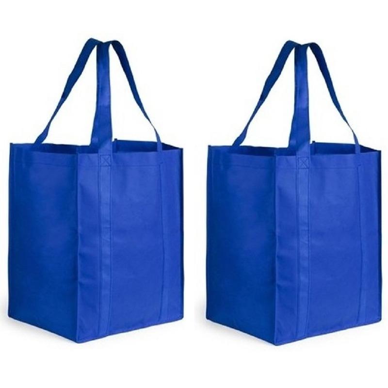 2x Boodschappen tas/shopper blauw 38 cm