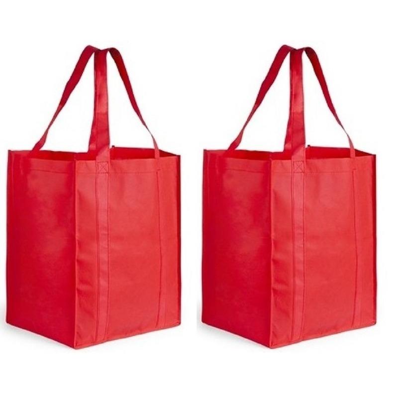 2x Boodschappen tas/shopper rood 38 cm
