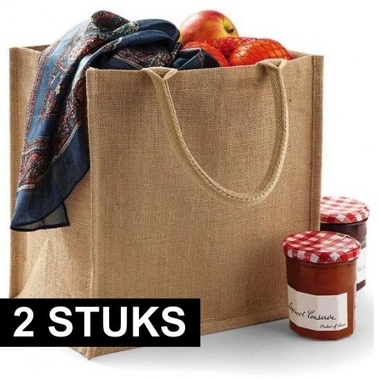 2x Jute boodschappentassen 30 cm
