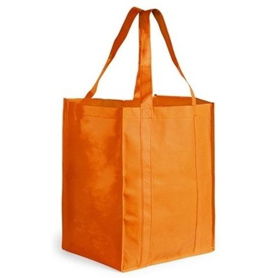 Boodschappen tas/shopper oranje 38 cm