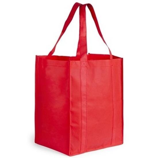 Boodschappen tas/shopper rood 38 cm