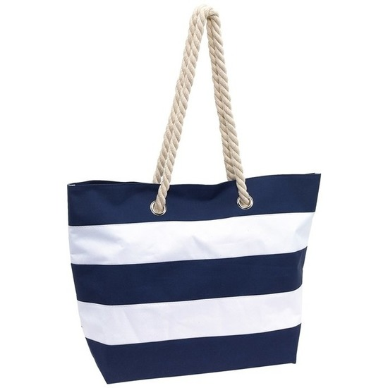 Boodschappentas gestreept blauw/wit 47 cm