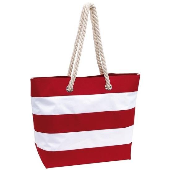 Boodschappentas gestreept rood/wit 47 cm