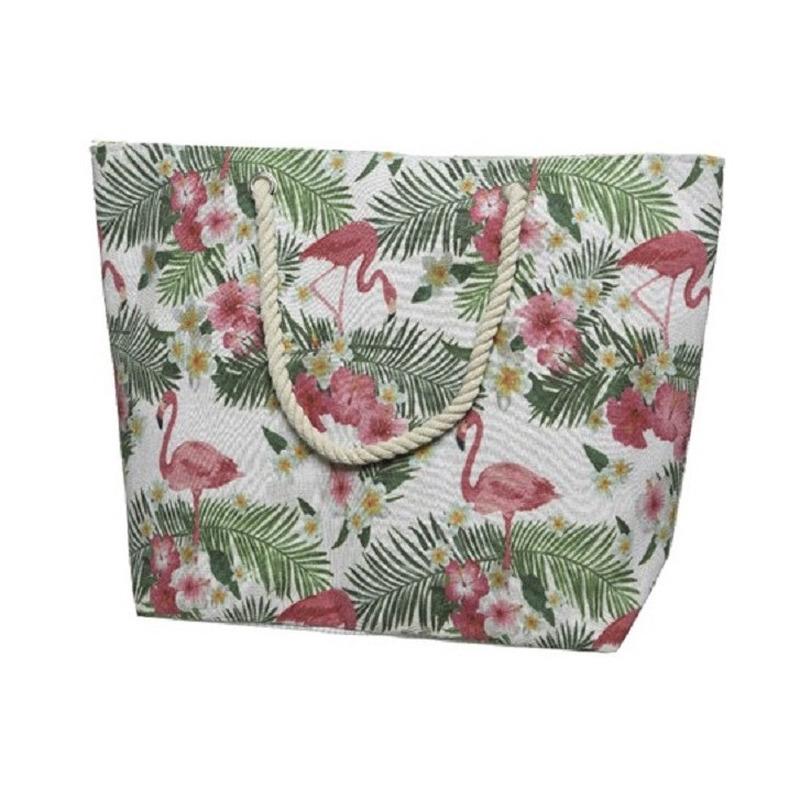 Canvas strandtas/shopper met flamingo print 38 cm