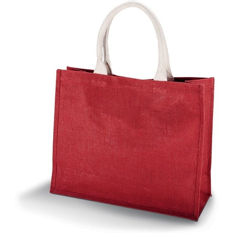 Jute rode shopper/boodschappen tas 42 cm