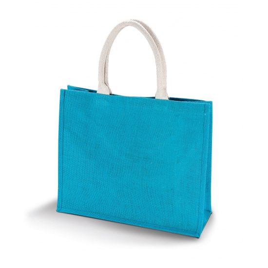 Jute turquoise blauwe shopper/boodschappen tas 42 cm