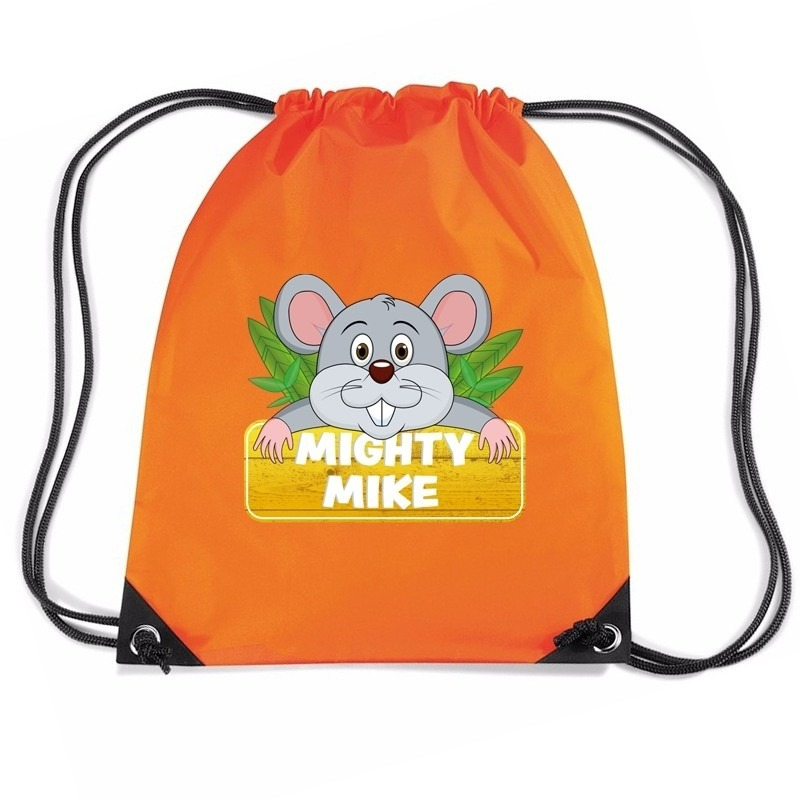 Mighty Mike de muis rugtas / gymtas oranje voor kinderen