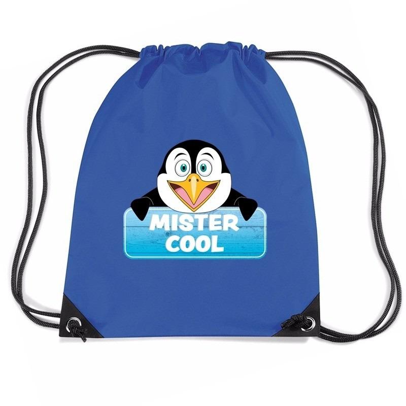 Mister Cool de pinguin rugtas / gymtas blauw voor kinderen