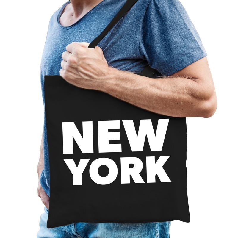 New York kado tas zwart katoen