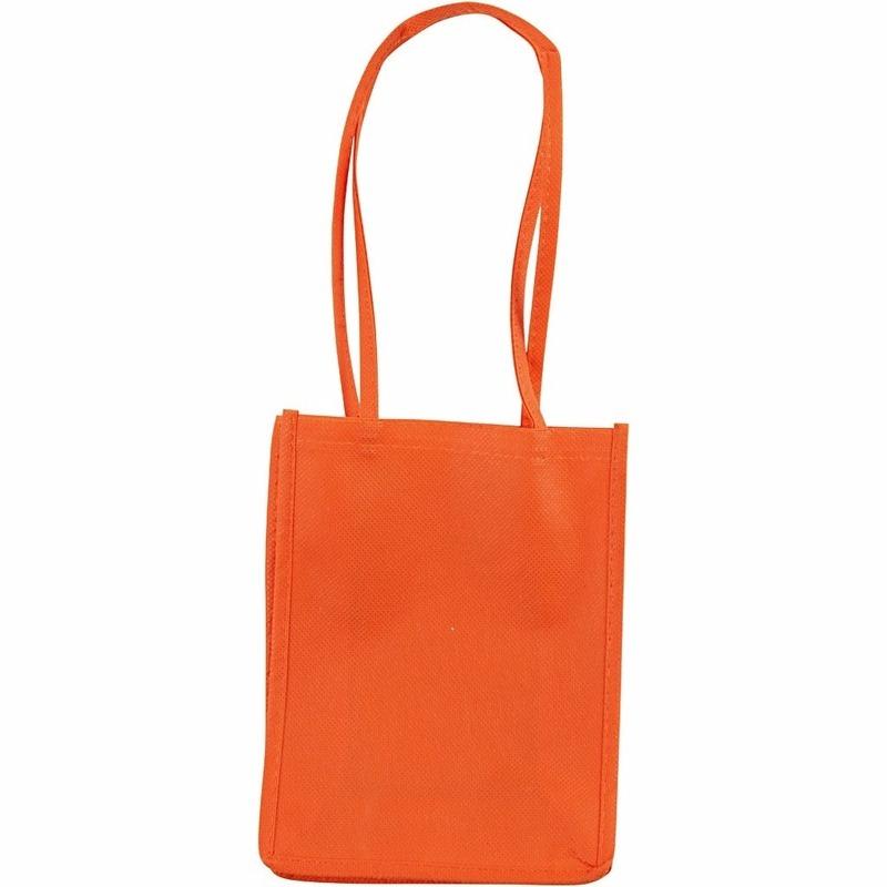 Oranje tasje met hengels 20 cm