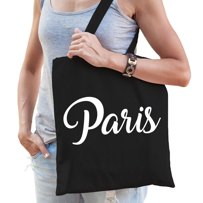 Parijs kado tas zwart katoen