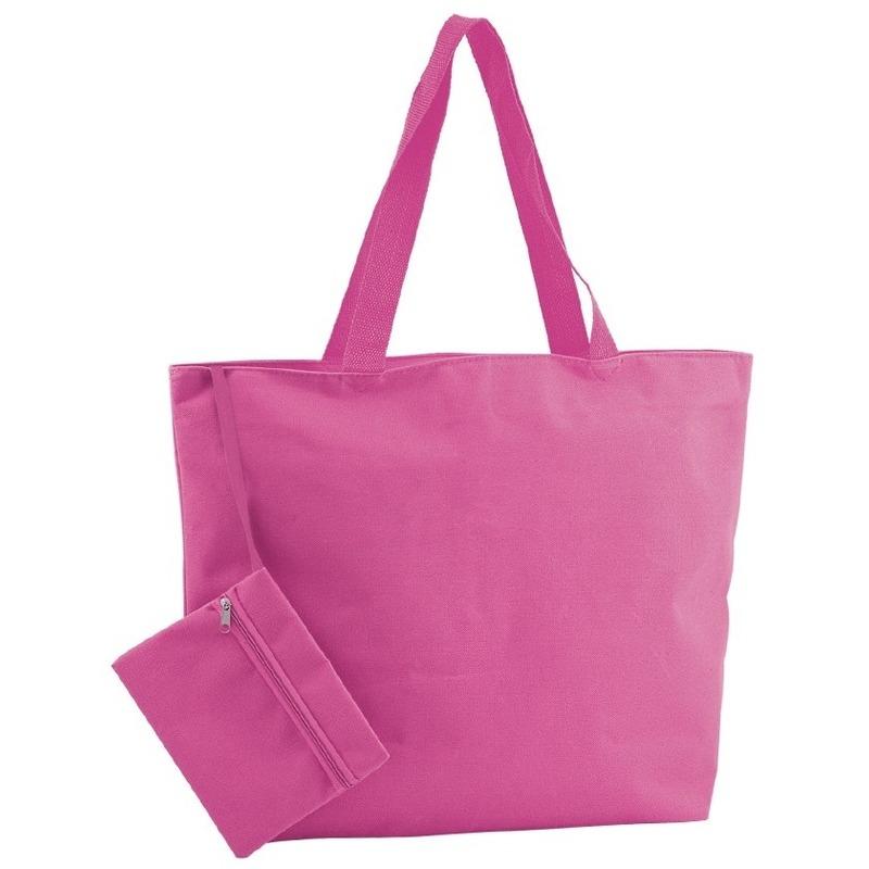 Polyester fuchsia roze shopper/boodschappen tas 47 cm