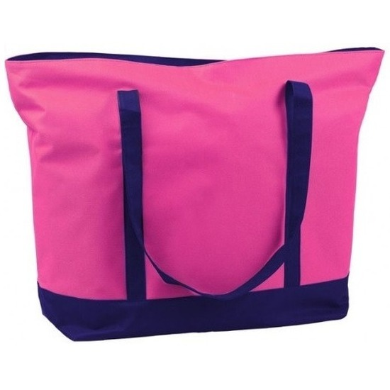 Polyester fuchsia roze shopper/boodschappen tas 60 cm
