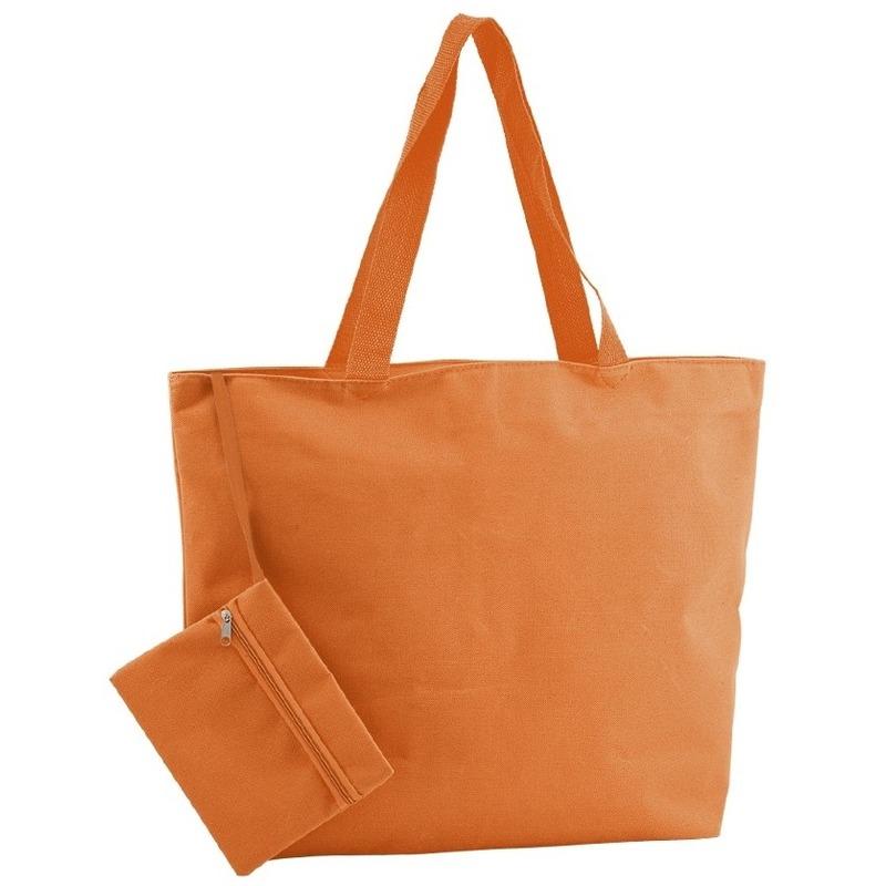 Polyester oranje shopper/boodschappen tas 47 cm