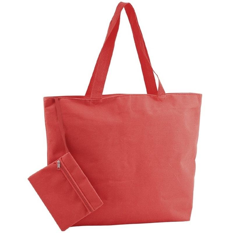 Polyester rode shopper/boodschappen tas 47 cm