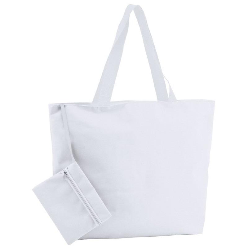 Polyester witte shopper/boodschappen tas 47 cm