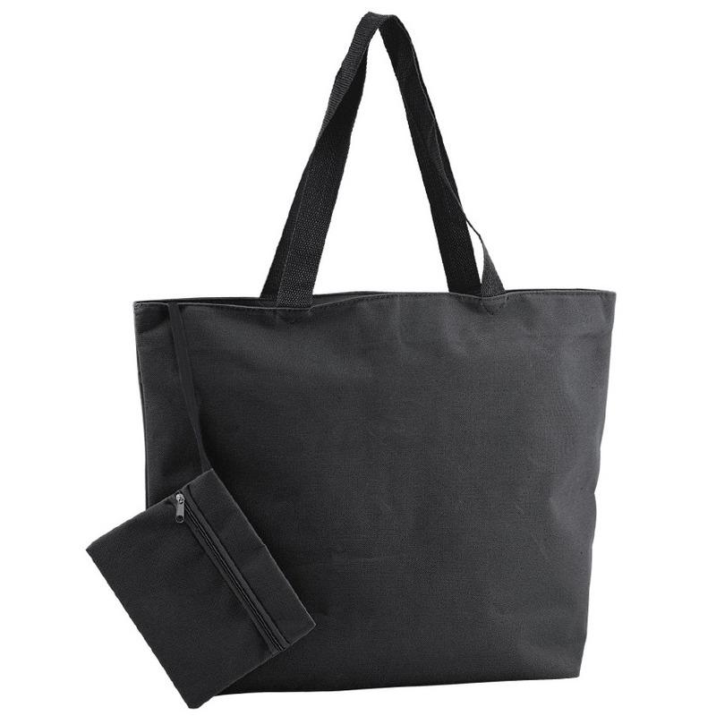 Polyester zwarte shopper/boodschappen tas 47 cm