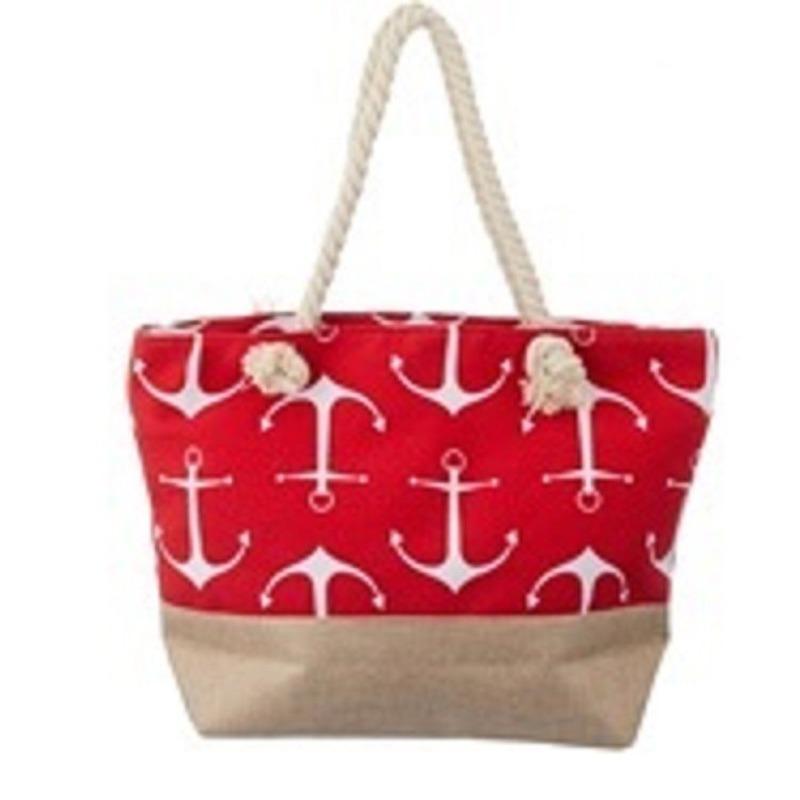 Rode strandtas met grote witte ankers maritiem thema 50 cm