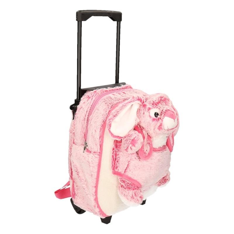 Schoolreisje koffer pluche konijn/haas roze
