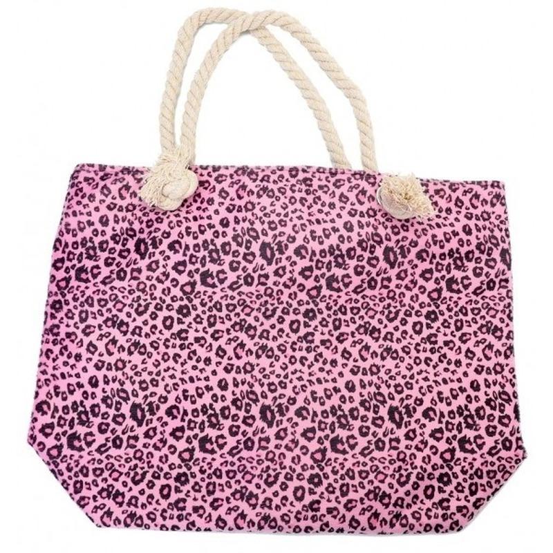 Shopper/boodschappen tas luipaard/panter print roze 43 cm