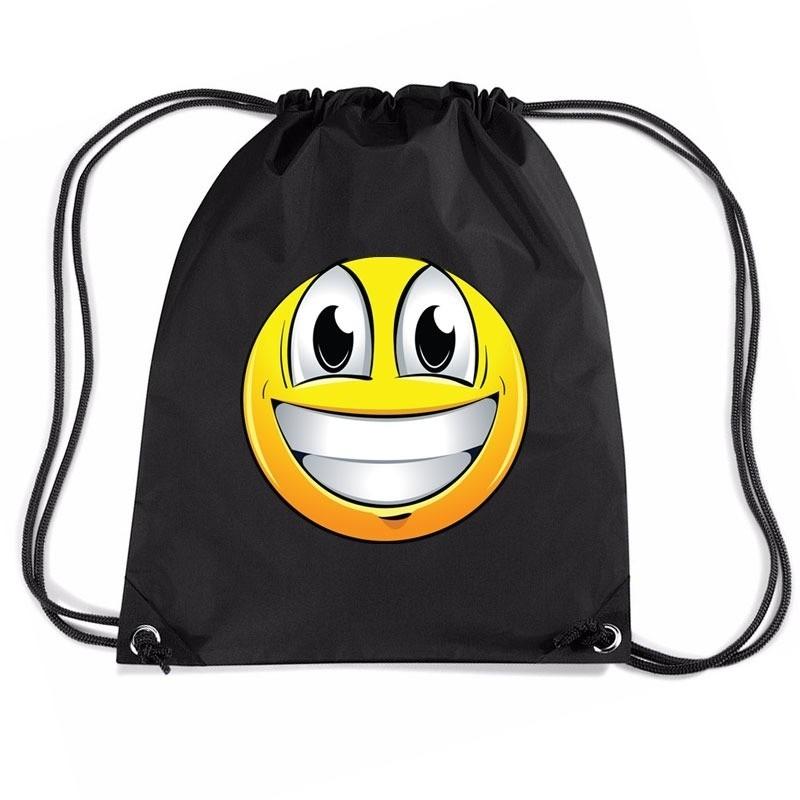 Sporttas met trekkoord emoticon super vrolijk