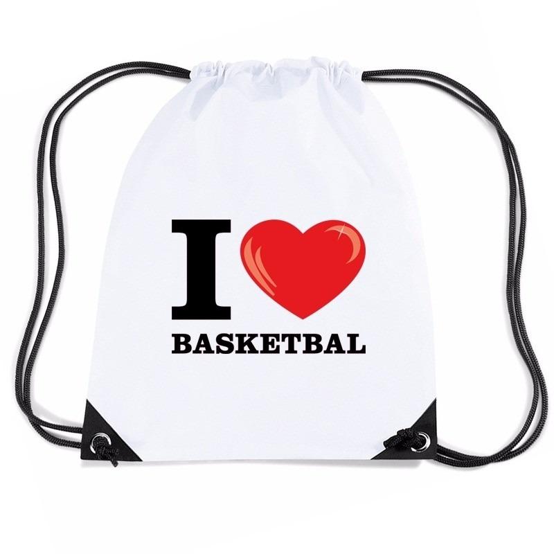 Sporttas met trekkoord I love basketbal